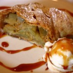 Apple Strudel with Caramel Sauce