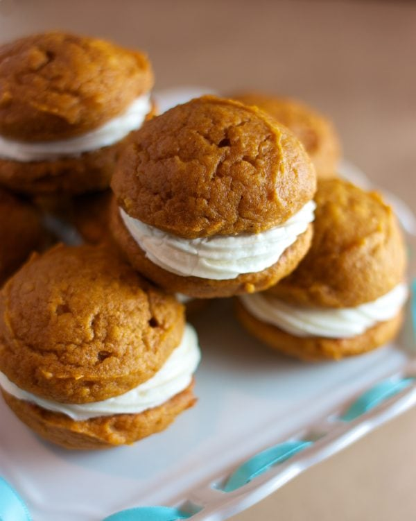 Dairy & Egg-Free Pumpkin Whoopie Pies with Maple Cream Cheese Filling