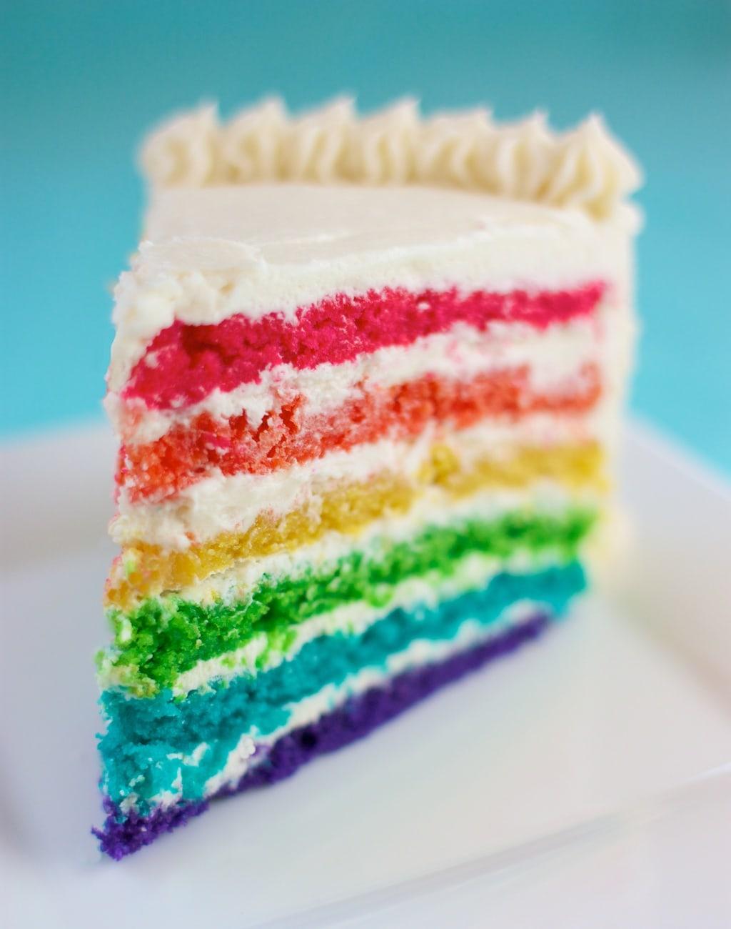 Rainbow Layer Cake Slice on a Plate