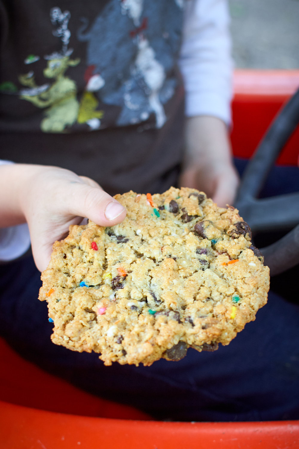 A large monster cookie held by a little boy