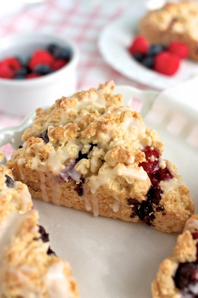 Raspberry and Blueberry Scones with Lemon Glaze