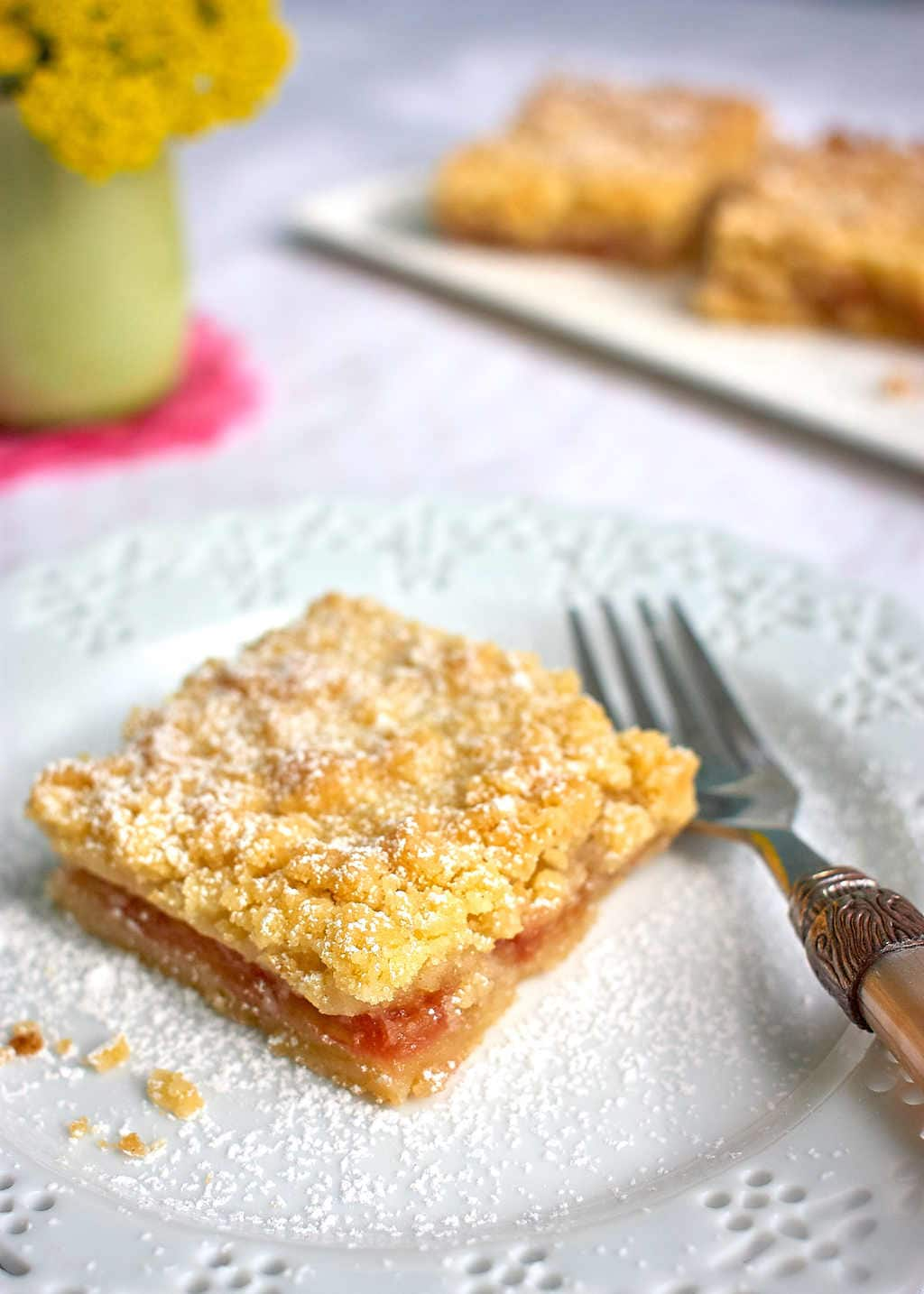 Rhubarb Shortbread Recipe: Dairy, egg & nut-free #vegan | speedbumpkitchen.com