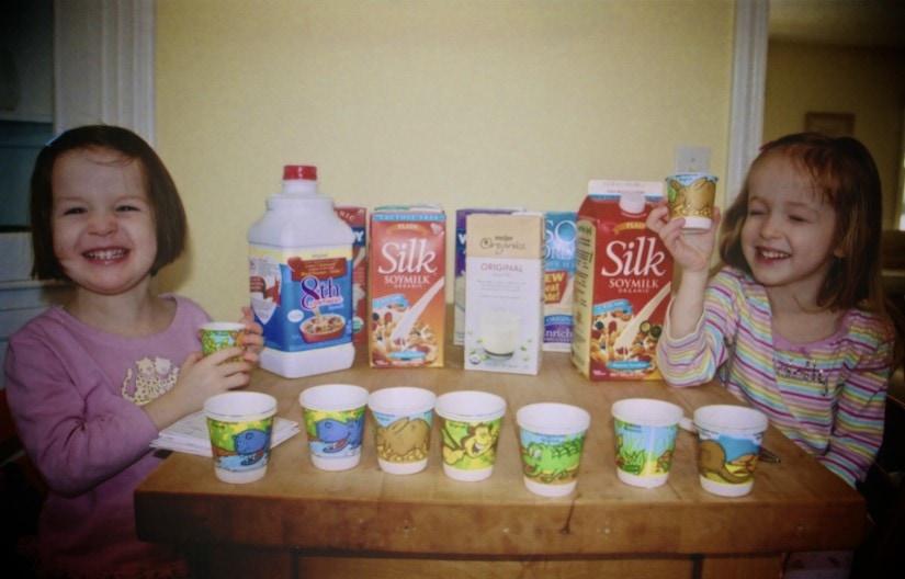 Soymilk Taste Test with the girls   speedbumpkitchen.com