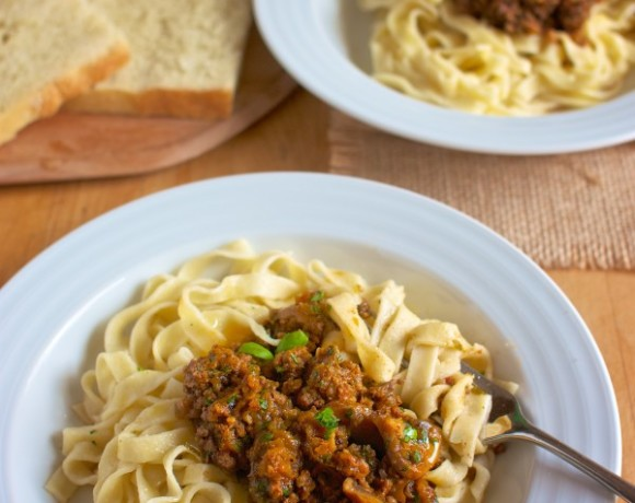 Homemade Egg Free Pasta with Bolognese Sauce