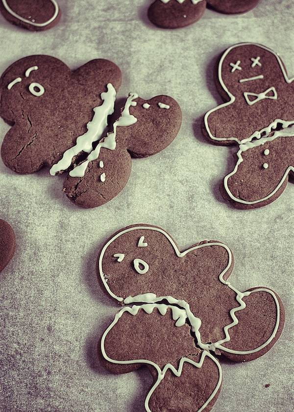 Gingerbread Man Crime Scene! Dairy, Egg and Nut-Free Gingerbread Men Recipe--vegan too.  | speedbumpkitchen.com