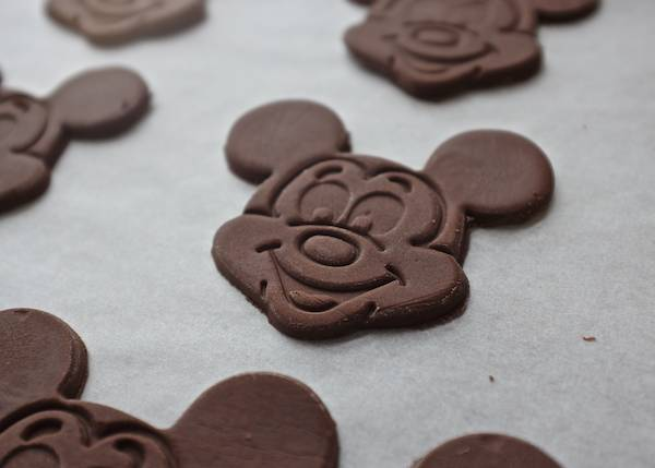 Mickey Mouse shaped chocolate cookies