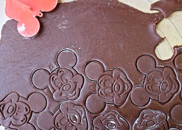 Vintage mickey mouse cookie cutter and chocolate cookie dough
