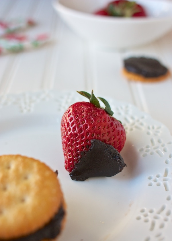 A strawberry with Oreo cookie butter spread.