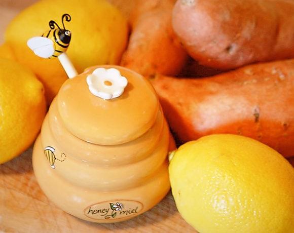 Roast Lemon Chicken with Honey Glaze and Sweet Potatoes | speedbumpkitchen.com